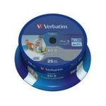 Диск BD-R Verbatim 25 Gb, 6x, Cake Box (25), Printable, (25/100) 43811