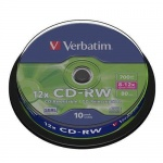 Диск CD-RW Verbatim 700 Mb 12x Slim Case (20) Color (20/100) 43762