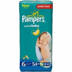 Подгузники PAMPERS Active Baby 15+ кг. 54 шт. extra large PA-81395115