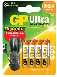 Аккумуляторы GP Ultra Alkaline 24AU/FT + фонарик LR03 AAA (8шт. в уп-ке)