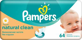 Салфетки Pampers Natural Clean упак:64шт. PA-81448773